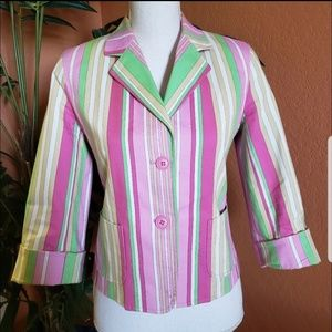 Rafaella Multi Color Striped Cotton Blazer, pink